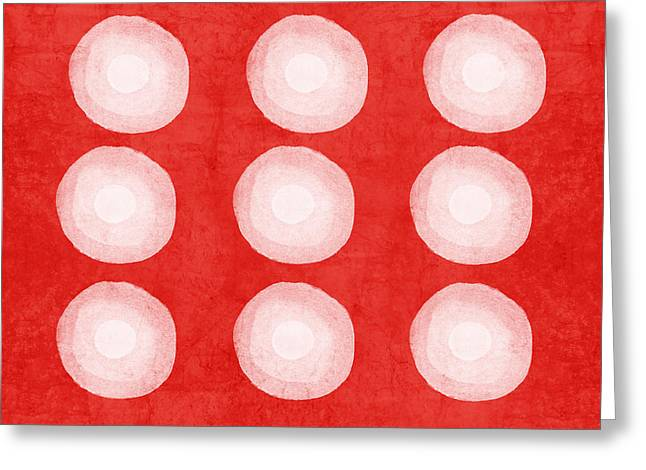 Dyed Greeting Cards - Red and White Shibori Circles Greeting Card by Linda Woods