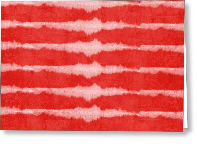 Red Art Greeting Cards - Red and White Shibori Design Greeting Card by Linda Woods