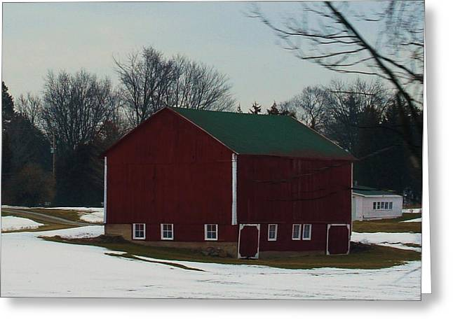 Outbuildings Digital Art Greeting Cards - Red And White Trimmed Barn Greeting Card by Rosemarie E Seppala