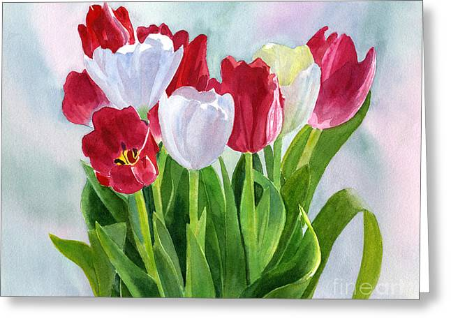 Red And White Greeting Cards - Red and White Tulip Bouquet Greeting Card by Sharon Freeman