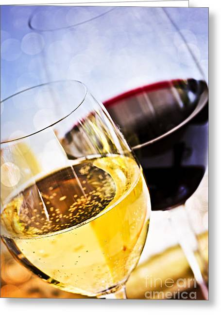 Various Greeting Cards - Red and white wine Greeting Card by Elena Elisseeva