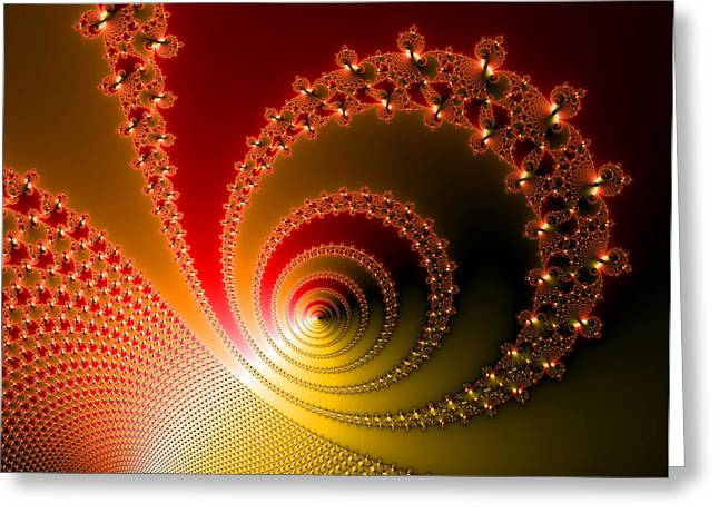 Helix Digital Art Greeting Cards - Red and yellow abstract fractal Greeting Card by Matthias Hauser