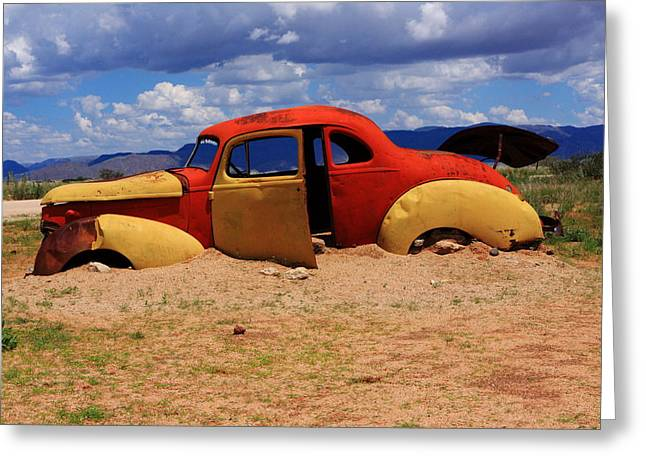 Wrecked Cars Greeting Cards - Red And Yellow Car Greeting Card by Aidan Moran