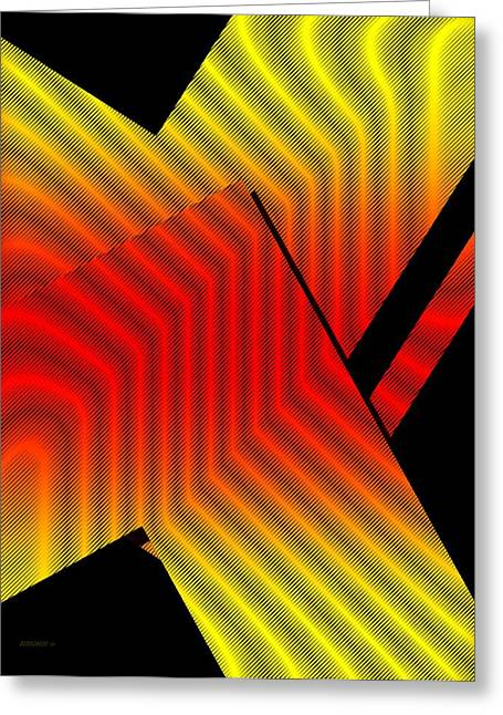 Transparency Geometric Greeting Cards - Red and Yellow Design with Lines Greeting Card by Mario  Perez