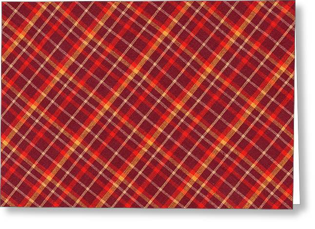 Checked Tablecloths Photographs Greeting Cards - Red and Yellow Diagonal Plaid Textile Design Background Greeting Card by Keith Webber Jr