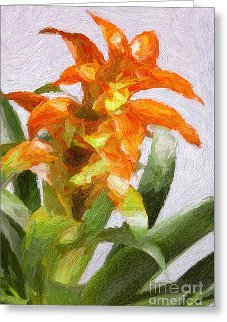 Flower Still Life Prints Greeting Cards - Red and Yellow flowers Painting in Color 3181.02 Greeting Card by M K  Miller
