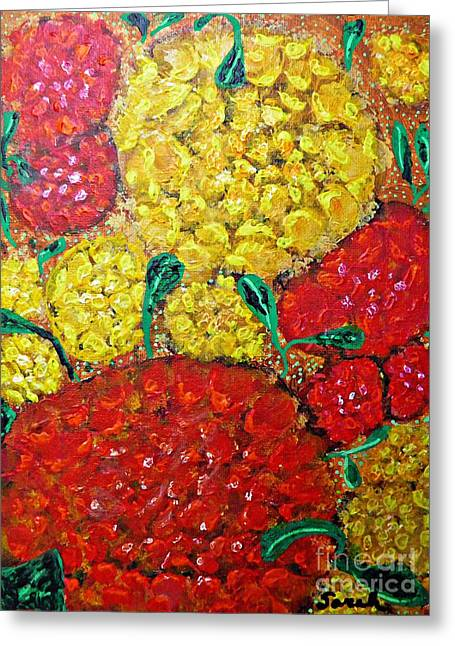 Red And Yellow Garden Greeting Card by Sarah Loft