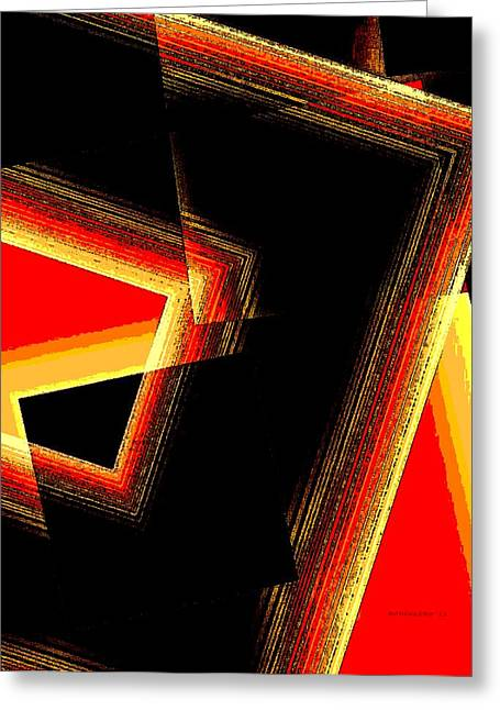 Transparency Geometric Greeting Cards - Red and Yellow Geometric Design Greeting Card by Mario  Perez