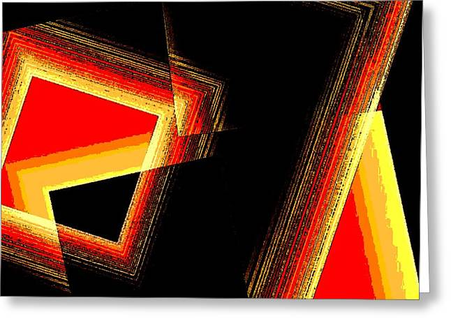 Red and Yellow Geometric Design Greeting Card by Mario  Perez