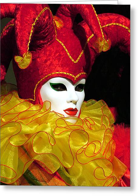 Jester Greeting Cards - Red and Yellow Jester Greeting Card by Donna Corless