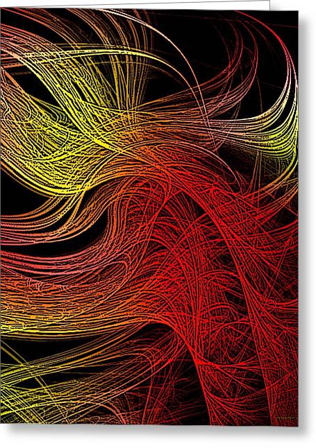 Red And Yellow Lines  Greeting Card by Mario Perez