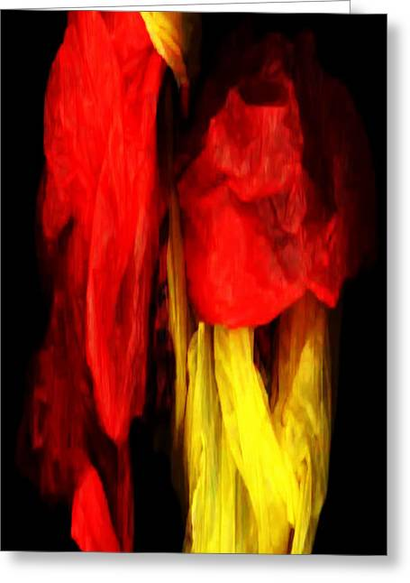 Shower Curtain Greeting Cards - Red and Yellow Greeting Card by Rafael Salazar