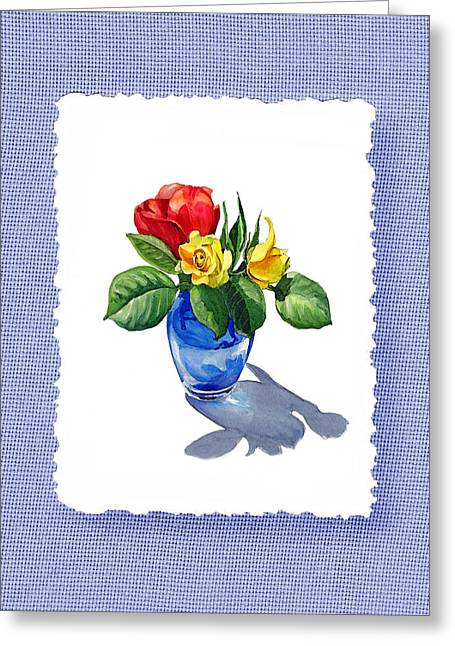Red Bouquet Greeting Cards - Red And Yellow Roses Botanical Impressionism Greeting Card by Irina Sztukowski