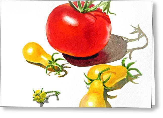 Red And Yellow Tomatoes Greeting Card by Irina Sztukowski