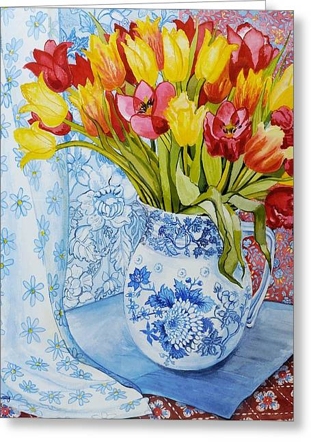 Colourful Flower Greeting Cards - Red and yellow tulips in a Copeland jug Greeting Card by Joan Thewsey