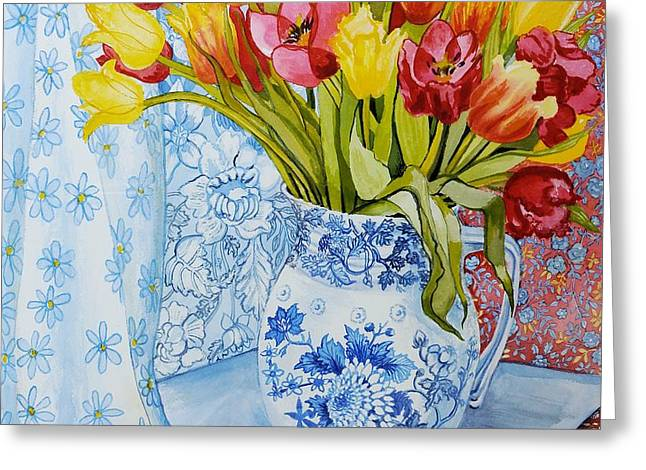 Red and yellow tulips in a Copeland jug Greeting Card by Joan Thewsey