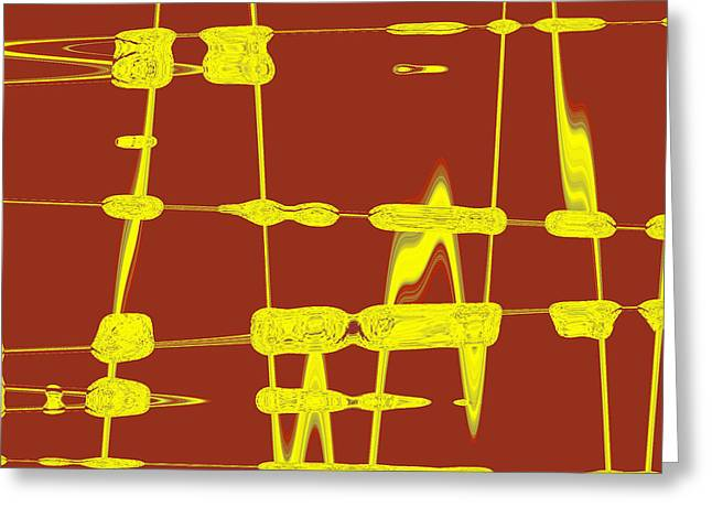 Yellow Line Greeting Cards - Red And Yellow Wave No 4 Greeting Card by Ben and Raisa Gertsberg
