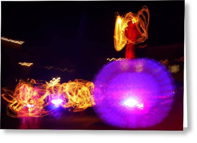 Night Angel Greeting Cards - Red Angel On Ball Greeting Card by Armin Schumm