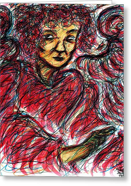 Ma.. Drawings Greeting Cards - Red Angel Greeting Card by Rachel Scott