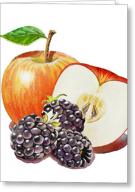 Gift From Nature Greeting Cards - Red Apple And Blackberries Greeting Card by Irina Sztukowski