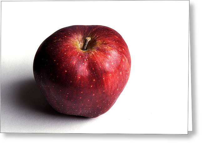 Apple Art Greeting Cards - Red Apple on White 2 Greeting Card by Rebecca Brittain