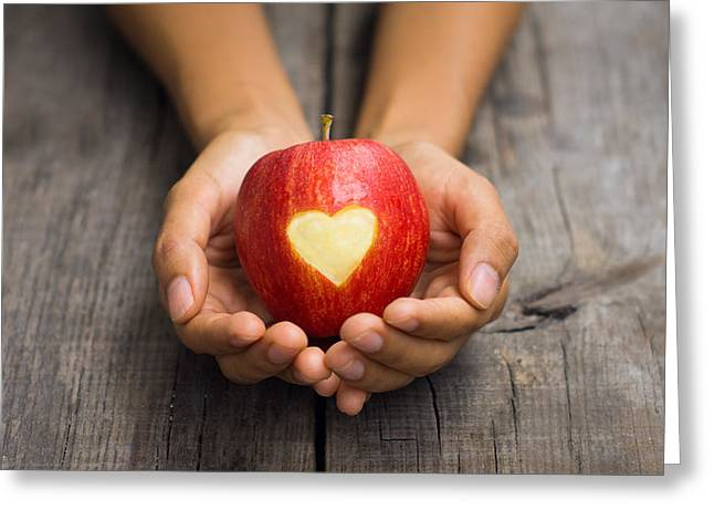 Lifestyle Greeting Cards - Red Apple with engraved heart Greeting Card by Aged Pixel