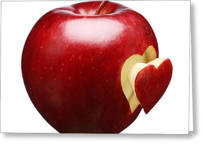 Dark Red Greeting Cards - Red Apple With Heart Greeting Card by Johan Swanepoel