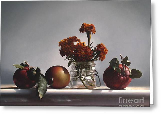 Apple Paintings Greeting Cards - RED APPLES and MARIGOLDS Greeting Card by Larry Preston