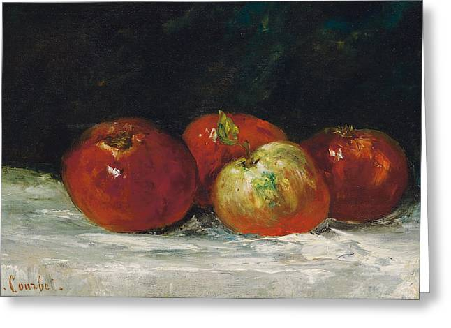 Apple Paintings Greeting Cards - Red Apples Greeting Card by Gustave Courbet
