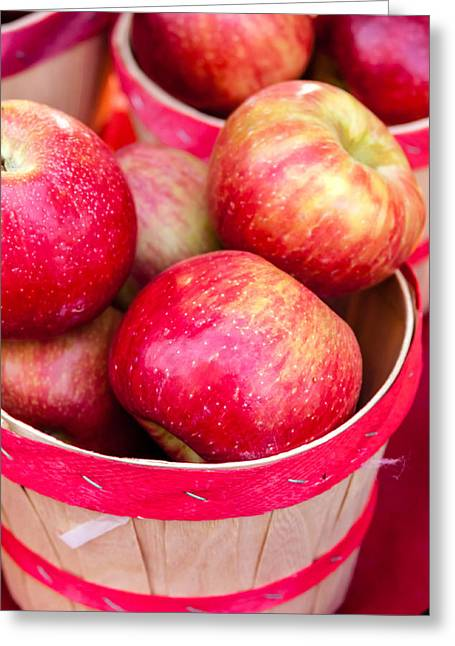 Home Grown Greeting Cards - Red Apples in Baskets at Farmers Market Greeting Card by Teri Virbickis