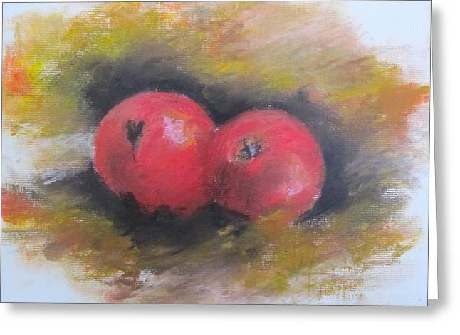 Apple Pastels Greeting Cards - Red Apples Greeting Card by Melinda Saminski