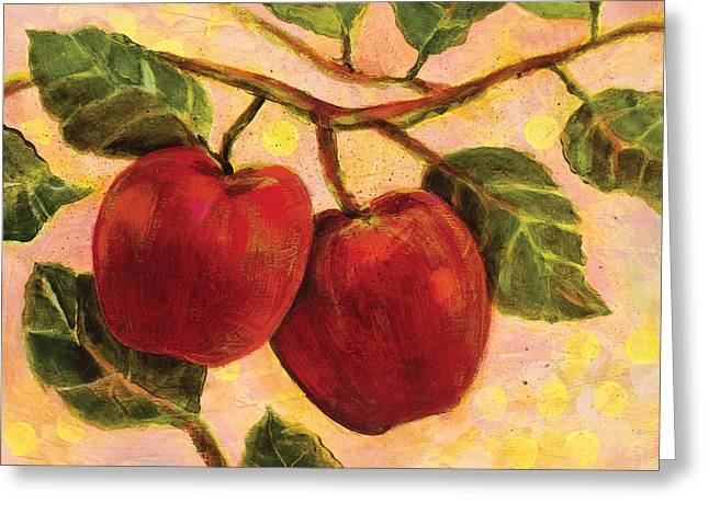 Food Art Paintings Greeting Cards - Red Apples on a Branch Greeting Card by Jen Norton