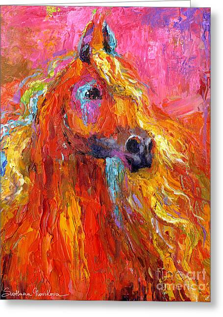 Red Abstracts Drawings Greeting Cards - Red Arabian Horse Impressionistic painting Greeting Card by Svetlana Novikova