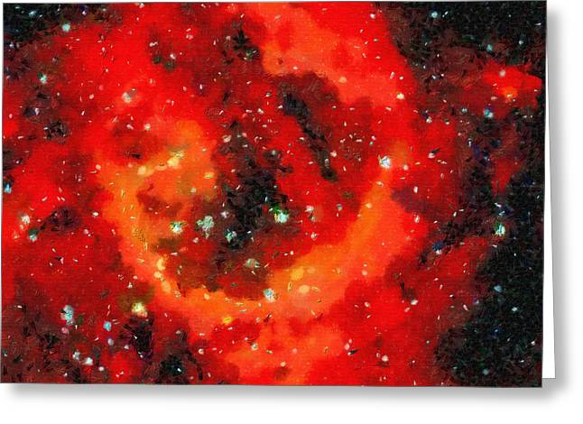 Outer Space Paintings Greeting Cards - Red area in outer space Greeting Card by Magomed Magomedagaev