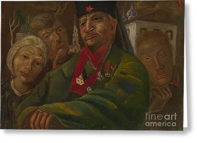 Orthodox Paintings Greeting Cards - Red Army General Greeting Card by Boris Grigoriev