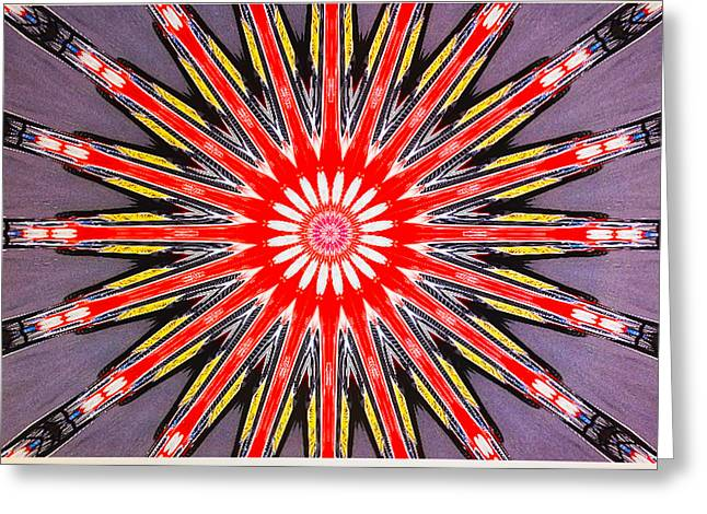 Arrow Abstract Greeting Cards - Red Arrow Abstract Greeting Card by Barbara Snyder
