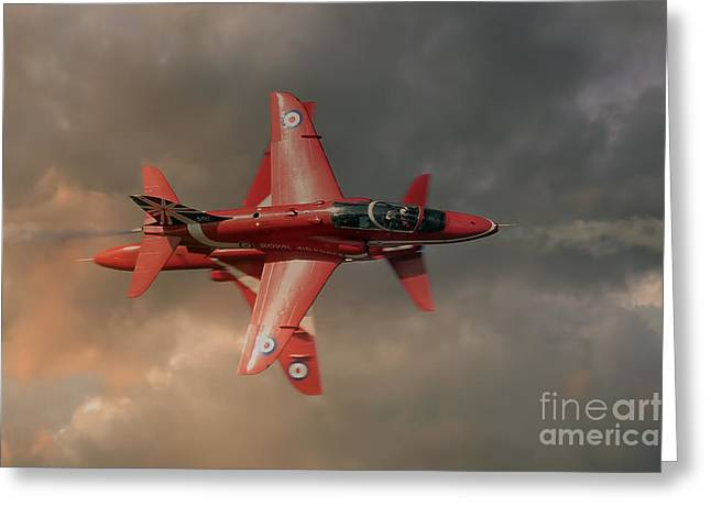 Opposition Greeting Cards - Red Arrows - Opposition Pass Greeting Card by Steve H Clark Photography