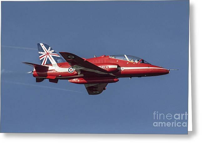 Red Tail Hawk Digital Art Greeting Cards - Red Arrows 50 Display Seasons Greeting Card by J Biggadike