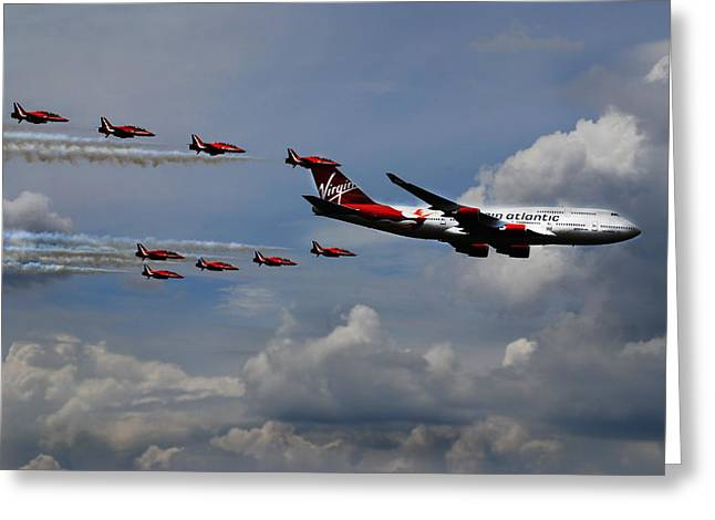 747 Greeting Cards - Red Arrows and Lady Penelope Greeting Card by Mark Rogan