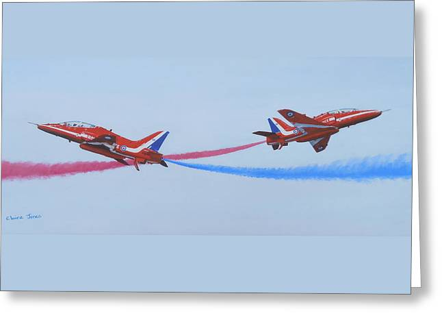 Pairs Greeting Cards - Red Arrows at Crowd Centre Greeting Card by Elaine Jones
