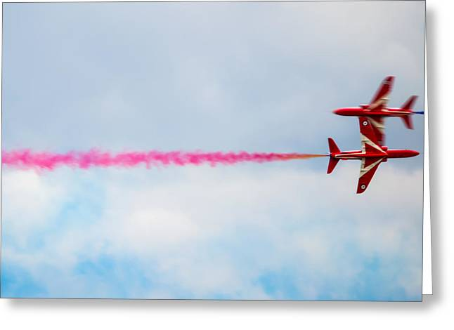 Barrel Roll Greeting Cards - Red Arrows - Opposing Barrel Roll Greeting Card by Scott Lyons