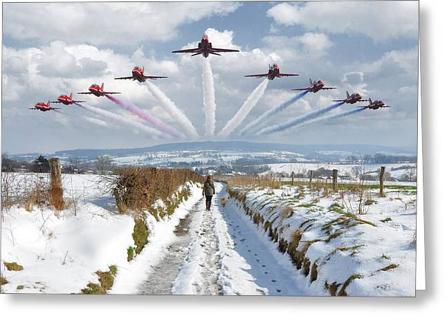 Limburg Digital Art Greeting Cards - Red Arrows over Epen Greeting Card by Nop Briex