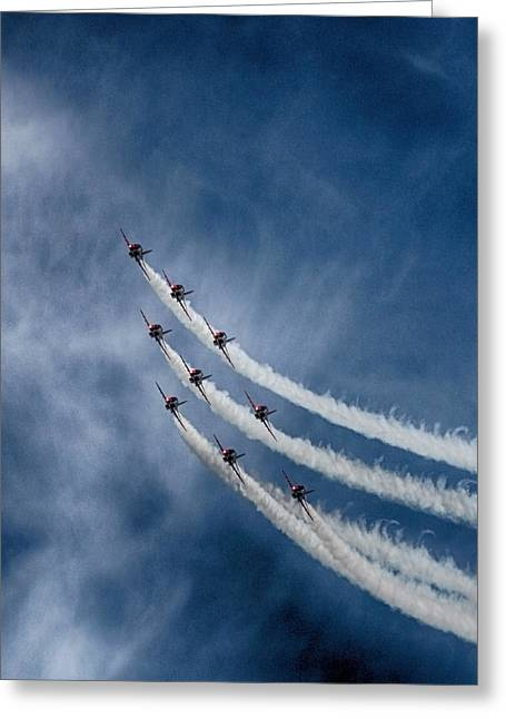 Smoke Trails Greeting Cards - Red Arrows Greeting Card by Phil Clements
