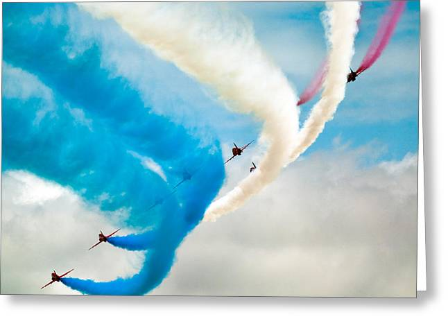Smoke Trail Greeting Cards - Red Arrows Greeting Card by Rastislav Margus