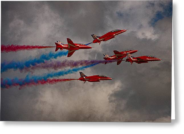 Smoke Trail Greeting Cards - Red Arrows Rollback Greeting Card by Phil Clements