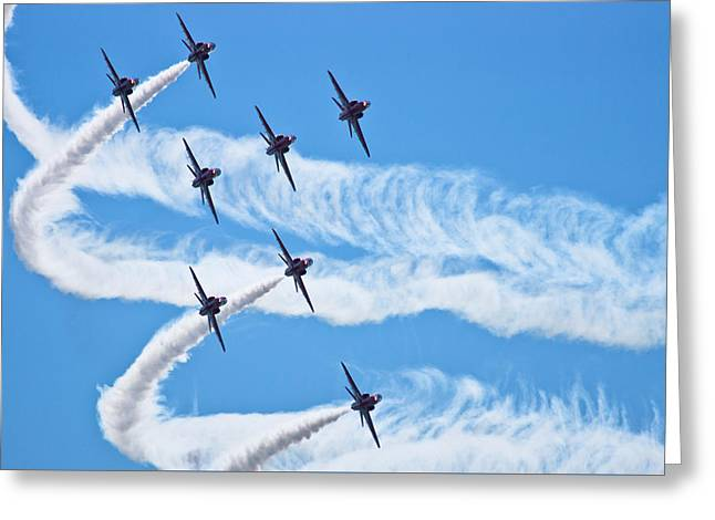 Raf Greeting Cards - Red Arrows Greeting Card by Scott Carruthers