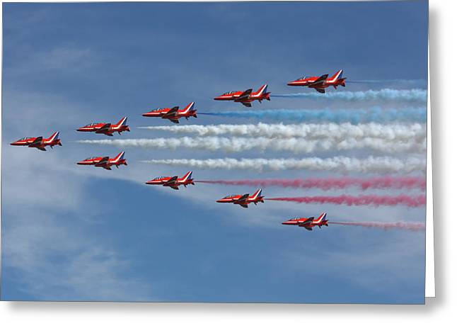 Smoke Trail Greeting Cards - Red Arrows V Formation Greeting Card by Phil Clements