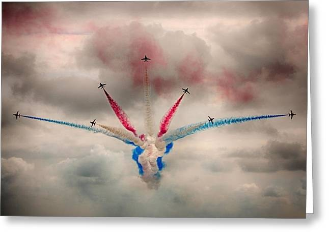Smoke Trail Greeting Cards - Red Arrows Vixen Break Greeting Card by Phil Clements