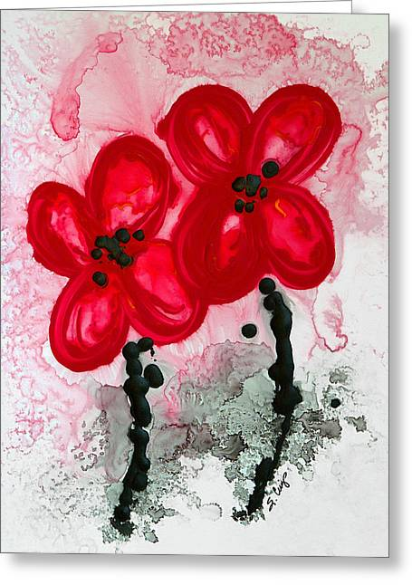 Canvas Floral Greeting Cards - Red Asian Poppies Greeting Card by Sharon Cummings