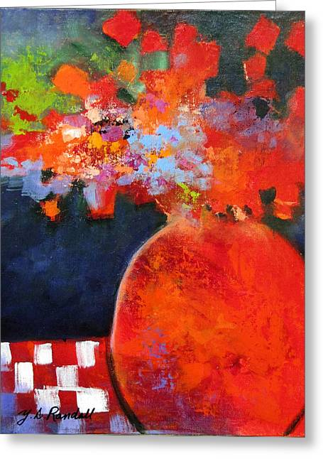 Checked Tablecloths Paintings Greeting Cards - Red at Night Greeting Card by Donna Randall